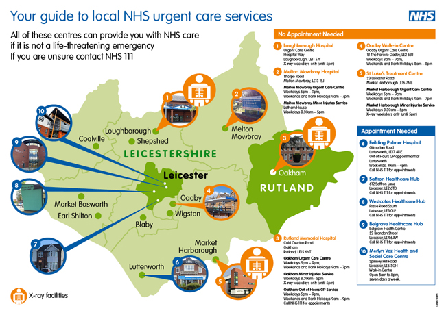 Urgent Care map of Leicestershire and Rutland